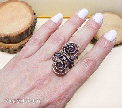 Wire wrapped spirals ring oxidized copper wire by artSistaFotini