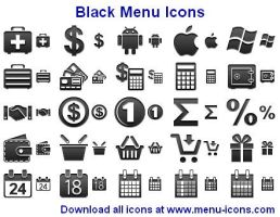 Black Menu Icons by Ikonod
