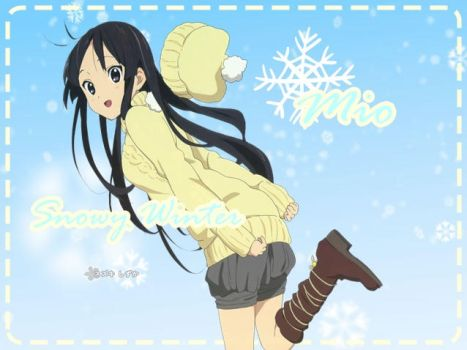 Wallpaper: Mio's Winter Wallpaper-K-ON! by sakuradreamer