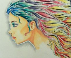 Colorful Hair Girl by DontEatMyPiexD