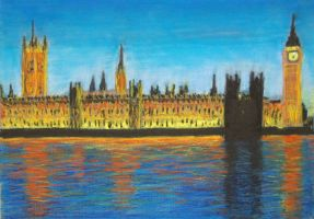 Floodlit Houses of Parliament by davepuls