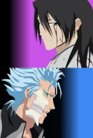 Grimmjow and Byakuya :3 by Mifang