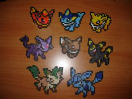 Mini Eeveelution in Perler by kaji7600