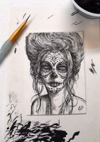 Day of the Dead Girl Orig. ACEO sketch card inked by D-E-V-I-A-N-T-A-R-T