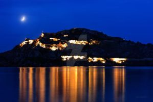 Lemnos castle at night image LC1 by LemnosExplorer