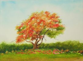 Gulmohar Tree by aakritiarts