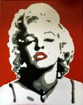 Marilyn Monroe stencil painting 11x14 by dav09123