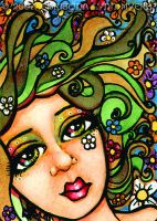 Daisy Swirl ACEO by sunkitty7