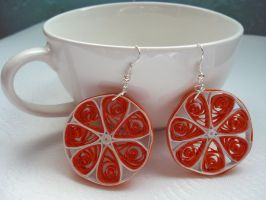 Orange quilled earrings by nicolehg