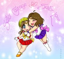 Couragous and Lovable Sailor Scouts by Emerarudo-chan