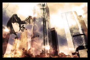 Dragon on a city by abythos666