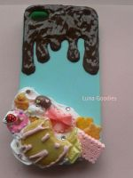 Kawaii decoden iphone4 Case with chocolate + Cream by Luna-Goodies