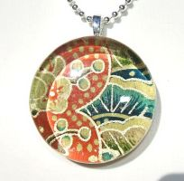 Red teal blue glass pendant by inchworm