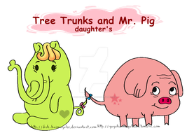 Tree Trunks and Mr. Pig daugther's by Drk-Haimazulee