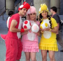 Red, Pink and Yellow Yoshis by Leena-A