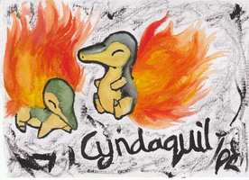 Cyndaquil Watercolour Sketches by Dizzie-Dog