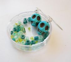 Turquoise Skull Earrings by LypticDesigns
