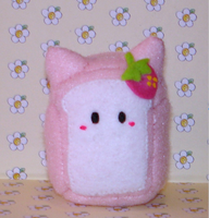 Strawberry cat bread plushie by Kittyportugal