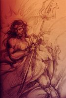 Initial Sketch of Poseidon by Feohria