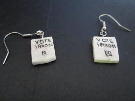 Vote Saxon...Earrings. by sonickingscrewdriver