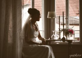 Bride at the window. by GasolinePhotography