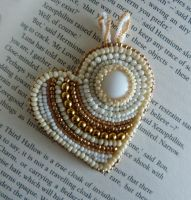 White and beige bead embroidered heart by nikkichou