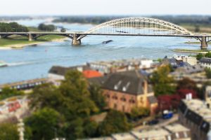 Tilt shift Nijmegen Waalbrug by Leconte