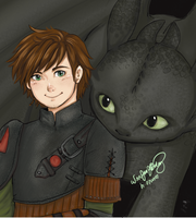 hiccup and toothless by h-ozuno