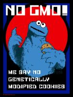 Cookie Monster Propaganda Art - NO GMO foods by HalHefnerART