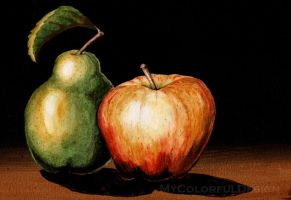 Pear and Apple by Alina-Kurbiel