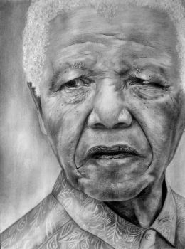 Nelson Mandela Portrait by Benadia