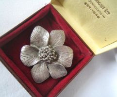 Vintage Silver-tone 'MIRACLE' *Wild Rose Brooch by sevvysgirl
