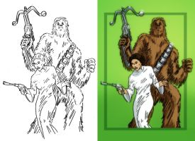 Leia and Chewie by Lawnz