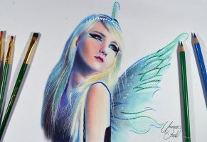 Fairy -- Oil color dry brushing + colored pencils. by f-a-d-i-l