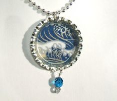 Blue wave bottle cap pendant by inchworm