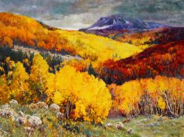 One Million and One Aspens by Alan Wolton OPAM by OilPaintersofAmerica