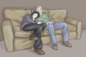 Johnlock: Cuddles by Fulcrumisthebomb