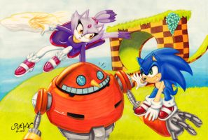 Blaze and Sonic: Green Hill by RAWN89