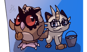 Hannah, Nilesy - Hoothoot, Meowth by FabledHeights