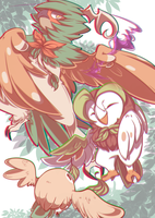Rowlet Evolutions by y0waifu
