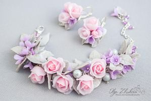 Set ornaments with roses and lilacs by polyflowers