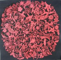 Red birds paper cutting by Snowboardleopard