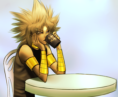 Yami Marik enjoys coffee by AngelLust155
