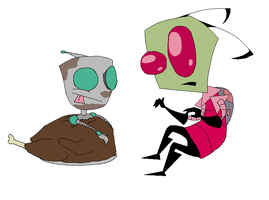 Zim and GIR's Thanksgiving by Neilikkaa