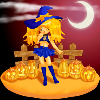 Halloween - Witch and pumpkins by aciampal