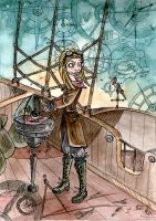 Fantasy stories. Sky ship. SteamPunk by birkey-fox