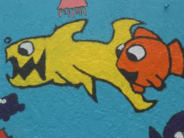 Shark and orange fish by FoxAndLeo4Ever