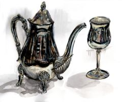 Teapot and goblet by gypsysnail