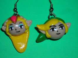 Link and Zelda earrings by DarthJader11