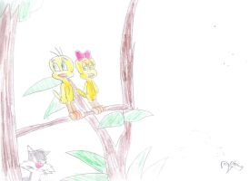 Tweety with his love interest at branch by MarcosLucky96